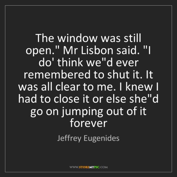"Jeffrey Eugenides: The window was still open."" Mr Lisbon said. ""I do' think..."