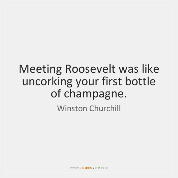 Meeting Roosevelt was like uncorking your first bottle of champagne.