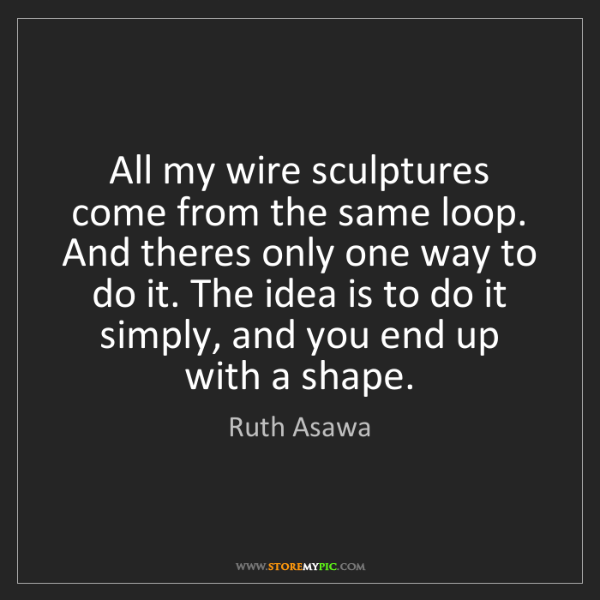Ruth Asawa: All my wire sculptures come from the same loop. And theres...