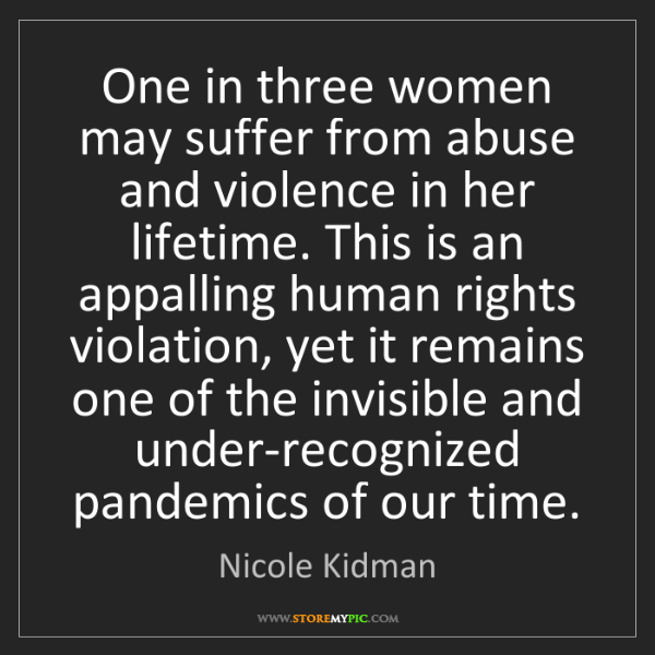 Nicole Kidman: One in three women may suffer from abuse and violence...