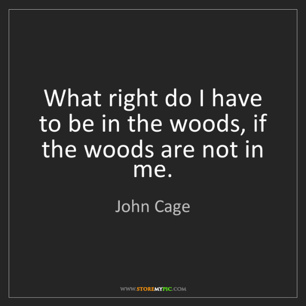 John Cage: What right do I have to be in the woods, if the woods...