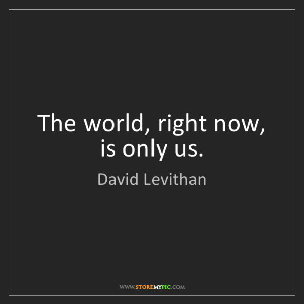 David Levithan: The world, right now, is only us.