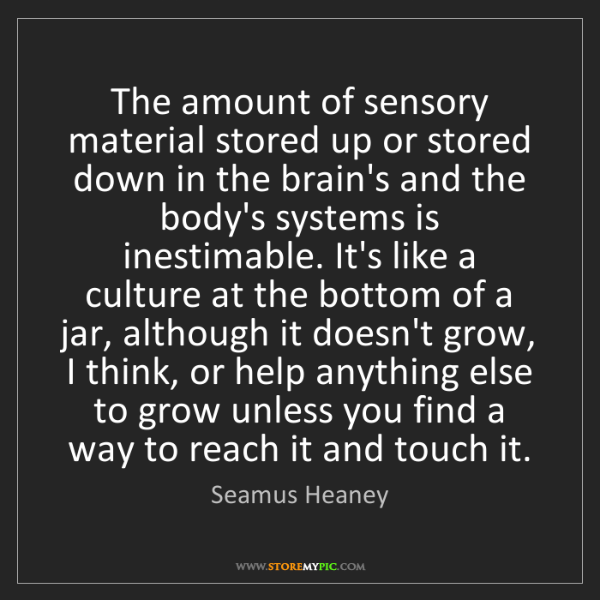 Seamus Heaney: The amount of sensory material stored up or stored down...