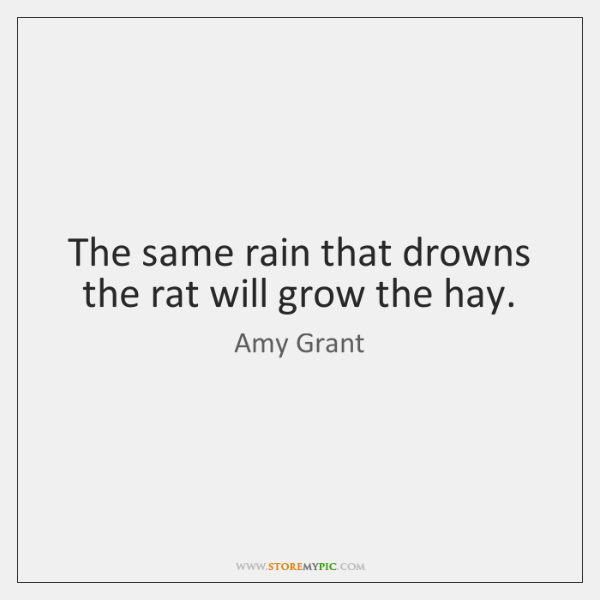 The same rain that drowns the rat will grow the hay.