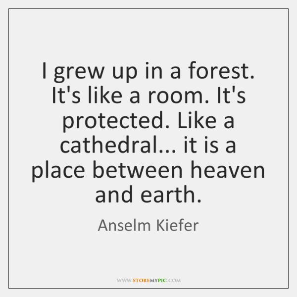 I grew up in a forest. It's like a room. It's protected. ...
