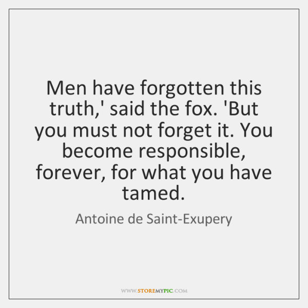 Men have forgotten this truth,' said the fox. 'But you must ...