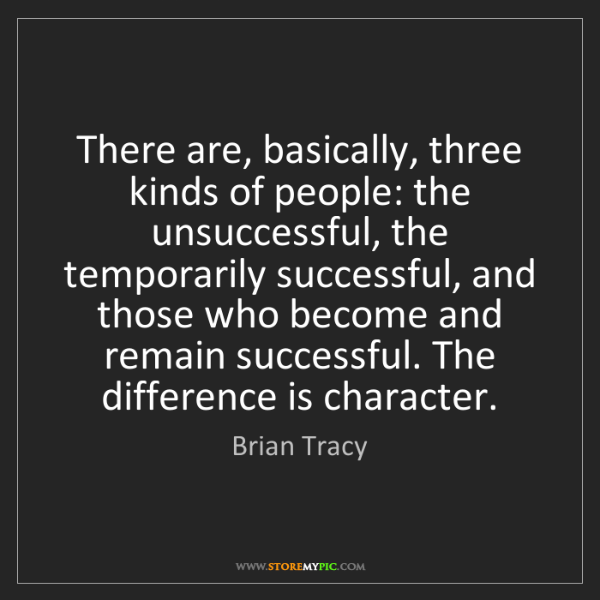 Brian Tracy: There are, basically, three kinds of people: the unsuccessful,...