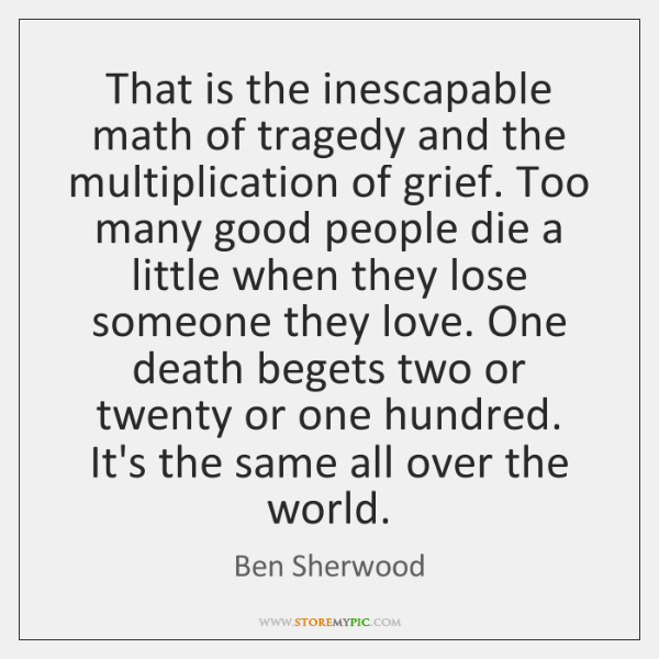That is the inescapable math of tragedy and the multiplication of grief. ...