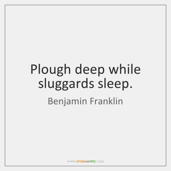 Plough deep while sluggards sleep.