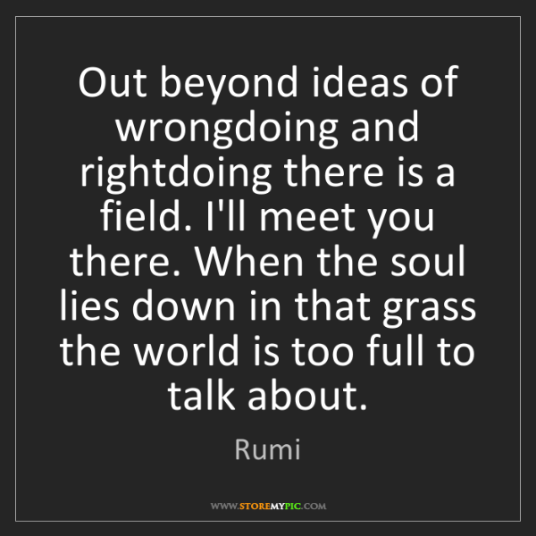 Rumi: Out beyond ideas of wrongdoing and rightdoing there is...