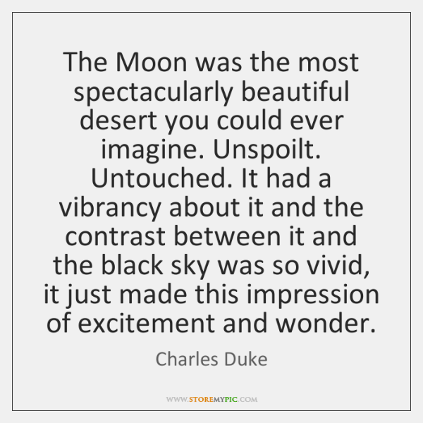 The Moon was the most spectacularly beautiful desert you could ever imagine. ...
