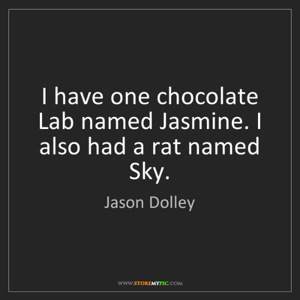 Jason Dolley: I have one chocolate Lab named Jasmine. I also had a...