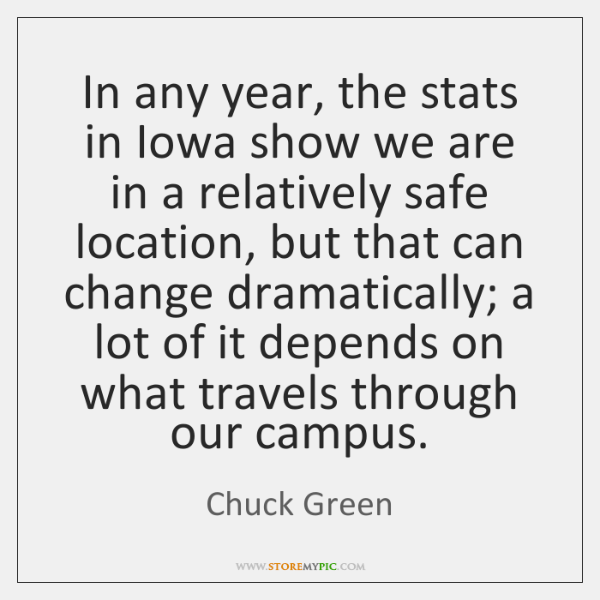 In any year, the stats in Iowa show we are in a ...