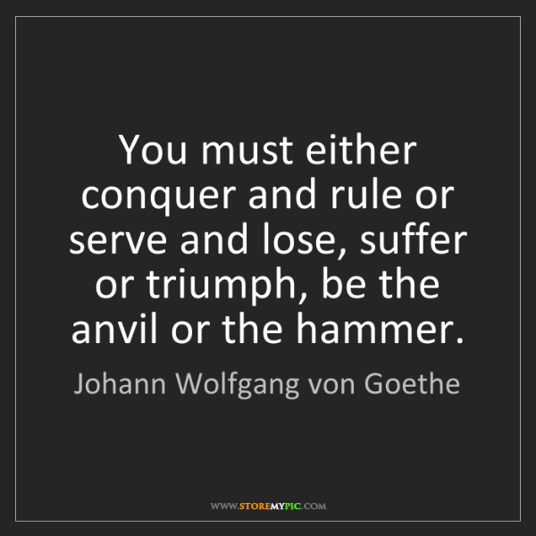 Johann Wolfgang von Goethe: You must either conquer and rule or serve and lose, suffer...