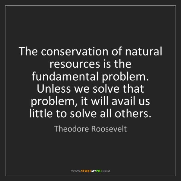 Theodore Roosevelt: The conservation of natural resources is the fundamental...