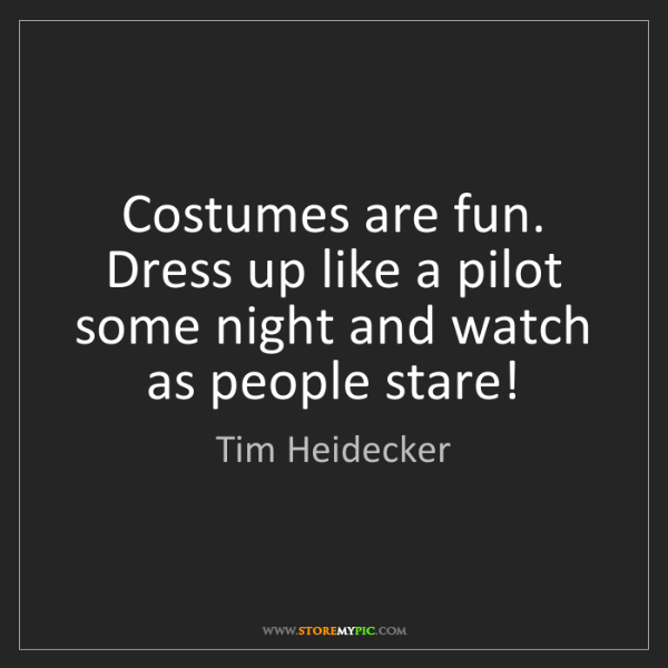 Tim Heidecker: Costumes are fun. Dress up like a pilot some night and...
