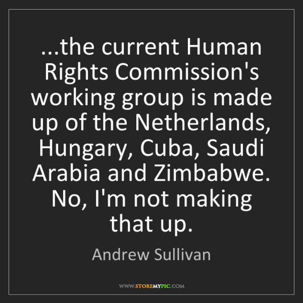 Andrew Sullivan: ...the current Human Rights Commission's working group...