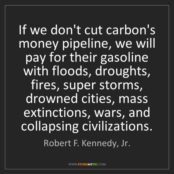 Robert F. Kennedy, Jr.: If we don't cut carbon's money pipeline, we will pay...