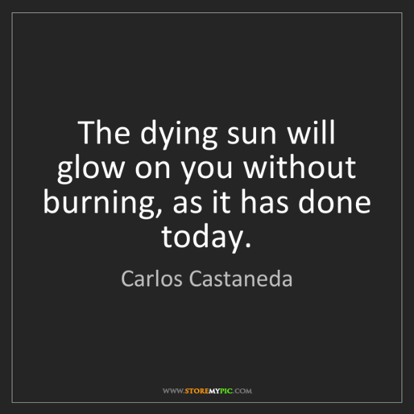 Carlos Castaneda: The dying sun will glow on you without burning, as it...