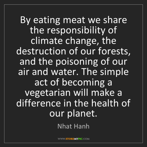 Nhat Hanh: By eating meat we share the responsibility of climate...