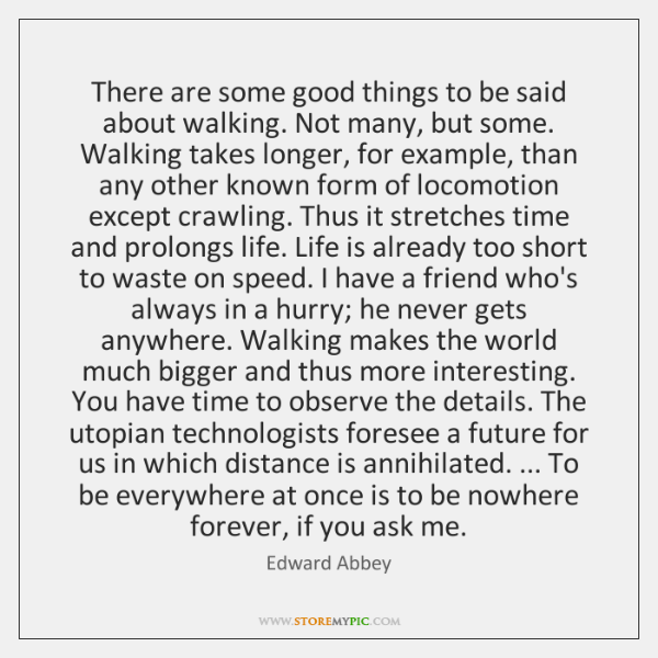 There are some good things to be said about walking. Not many, ...