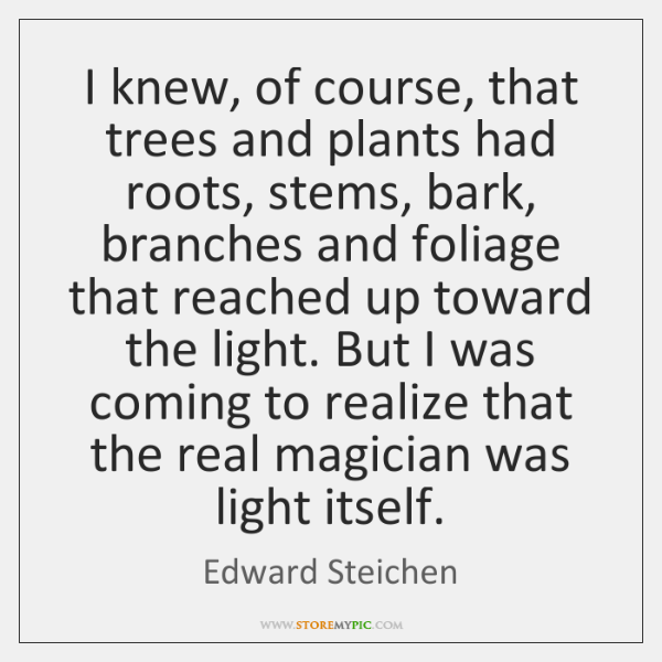 I knew, of course, that trees and plants had roots, stems, bark, ...
