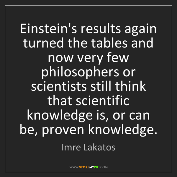 Imre Lakatos: Einstein's results again turned the tables and now very...