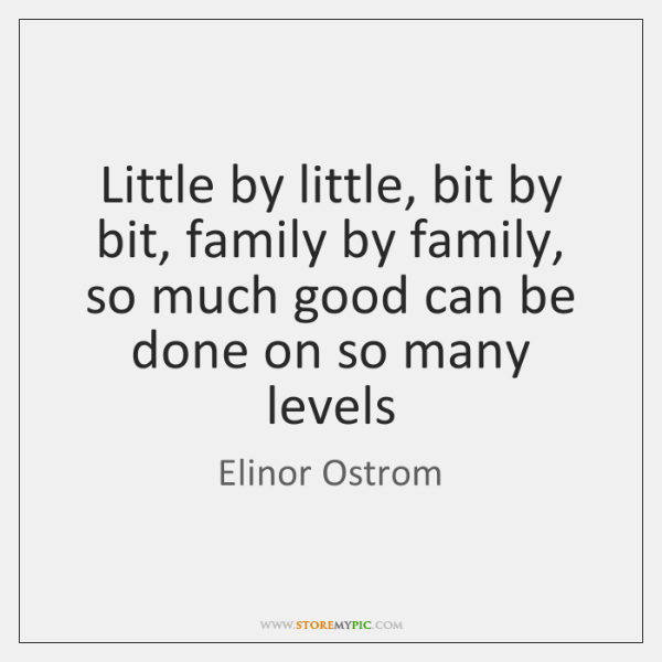 Little by little, bit by bit, family by family, so much good ...