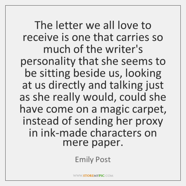 The letter we all love to receive is one that carries so ...