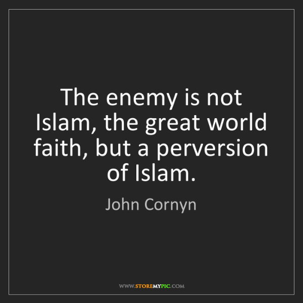 John Cornyn: The enemy is not Islam, the great world faith, but a...