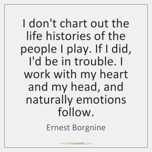 I don't chart out the life histories of the people I play. ...