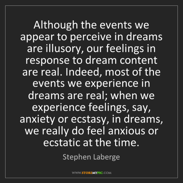 Stephen Laberge: Although the events we appear to perceive in dreams are...