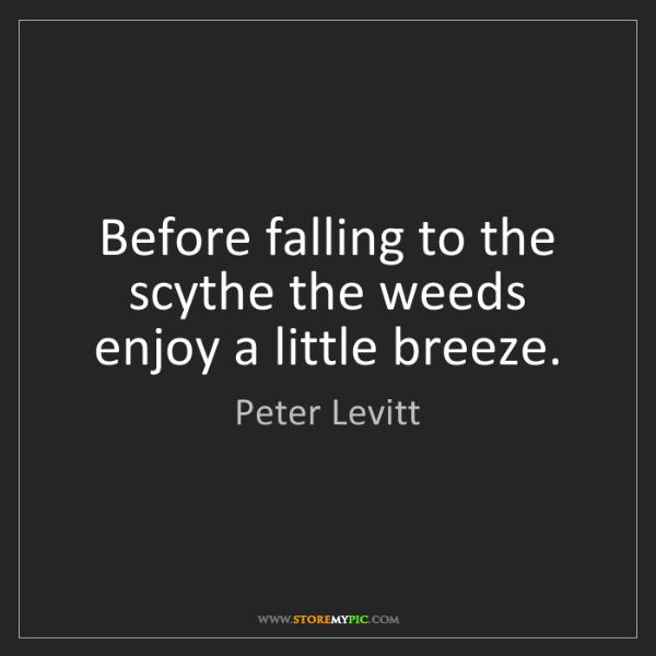 Peter Levitt: Before falling to the scythe the weeds enjoy a little...