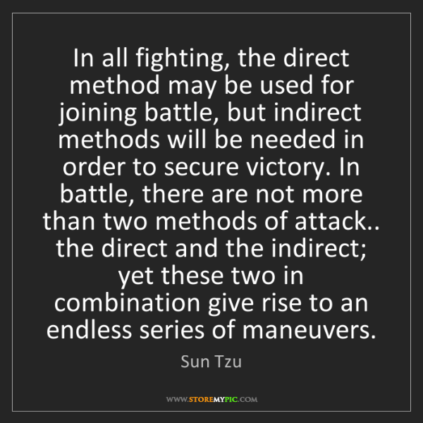 Sun Tzu: In all fighting, the direct method may be used for joining...