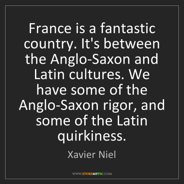 Xavier Niel: France is a fantastic country. It's between the Anglo-Saxon...