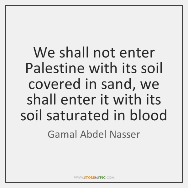 We shall not enter Palestine with its soil covered in sand, we ...