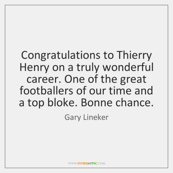 Congratulations to Thierry Henry on a truly wonderful career. One of the ...