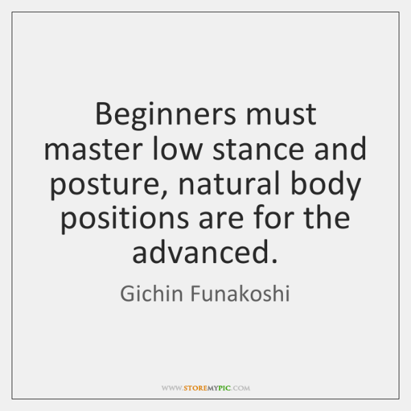 Beginners must master low stance and posture, natural body positions are for ...
