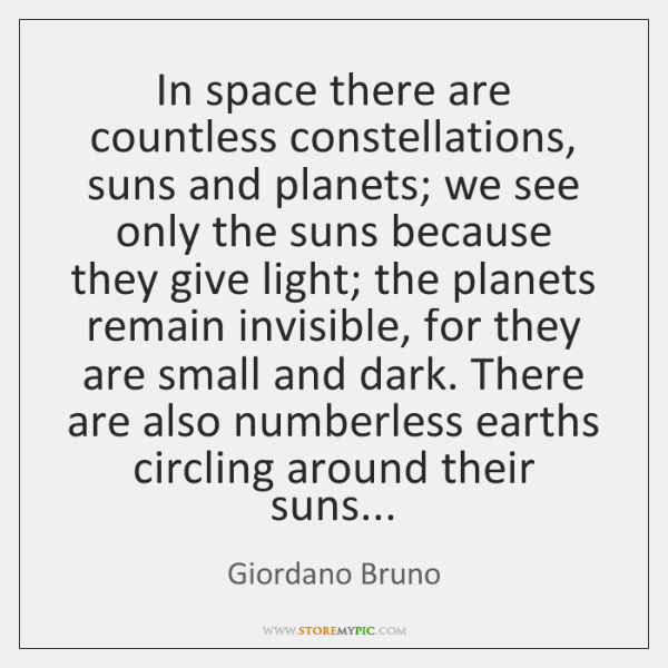 In space there are countless constellations, suns and planets; we see only ...