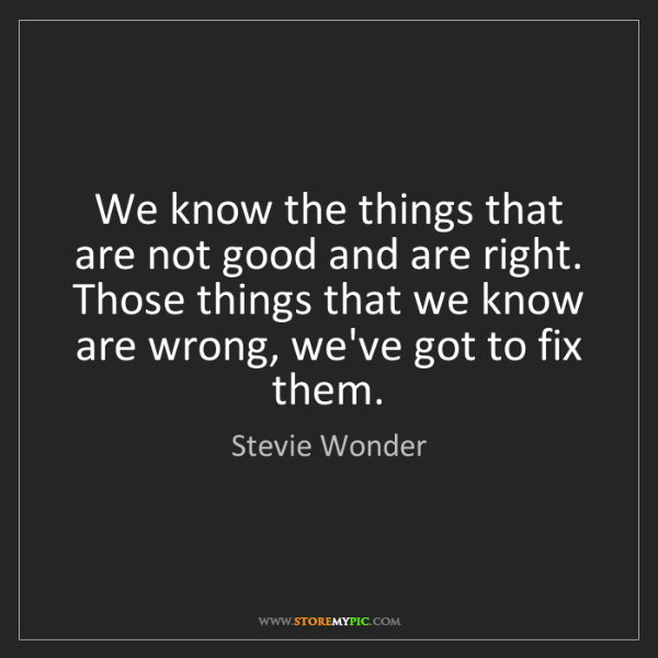 Stevie Wonder: We know the things that are not good and are right. Those...