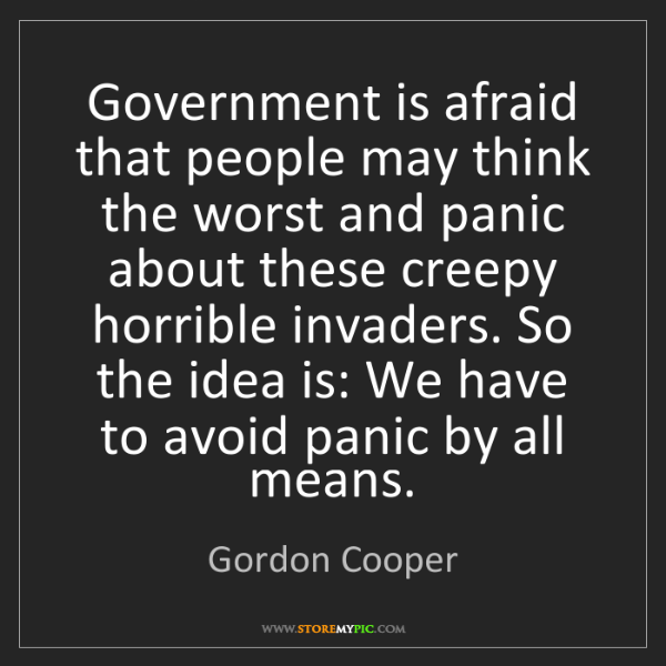 Gordon Cooper: Government is afraid that people may think the worst...