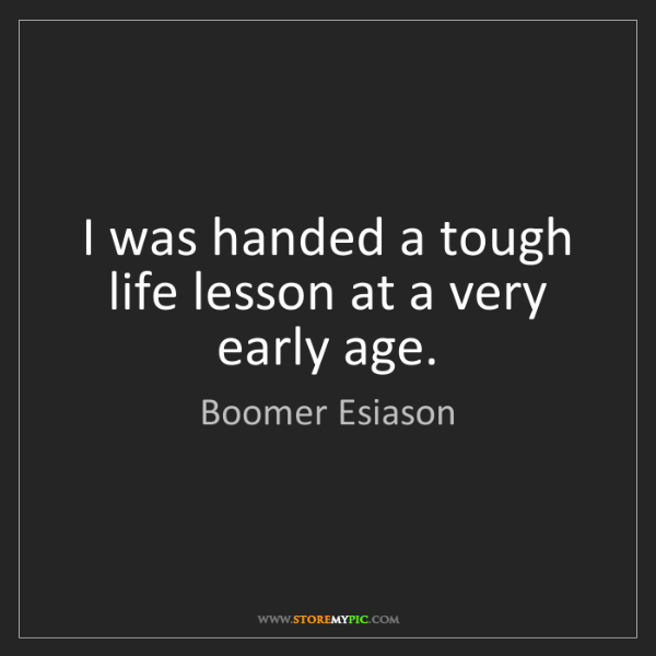 Boomer Esiason: I was handed a tough life lesson at a very early age.