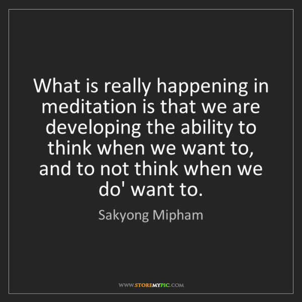 Sakyong Mipham: What is really happening in meditation is that we are...