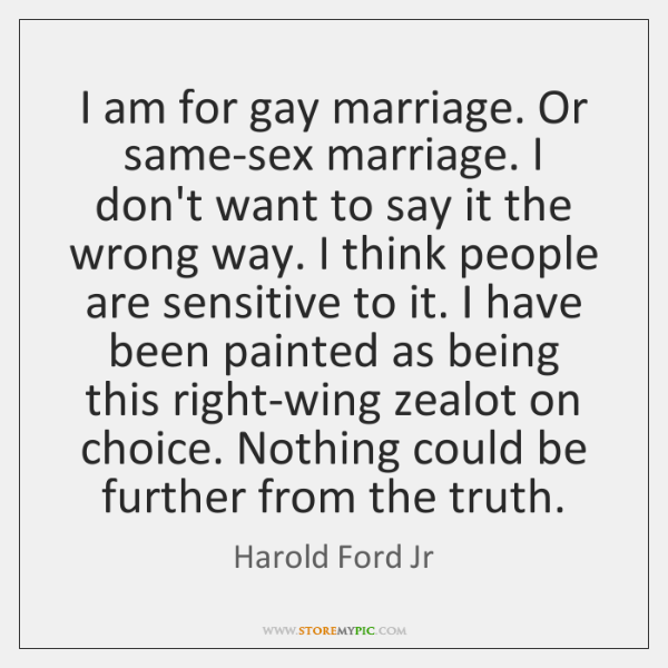 I am for gay marriage. Or same-sex marriage. I don't want to ...