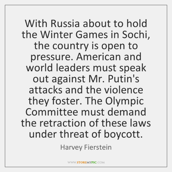 With Russia about to hold the Winter Games in Sochi, the country ...