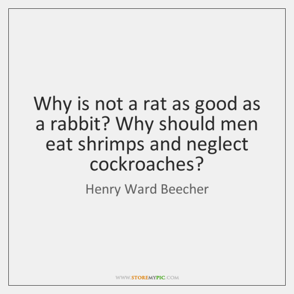 Why is not a rat as good as a rabbit? Why should ...