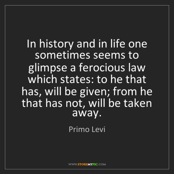Primo Levi: In history and in life one sometimes seems to glimpse...