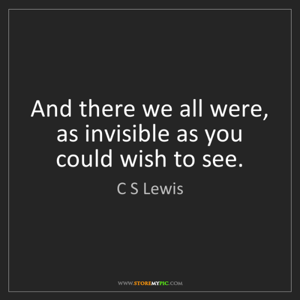 C S Lewis: And there we all were, as invisible as you could wish...