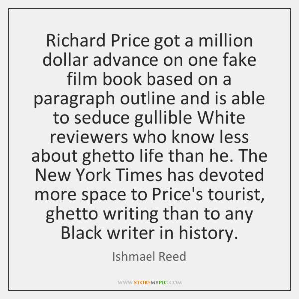 Richard Price got a million dollar advance on one fake film book ...