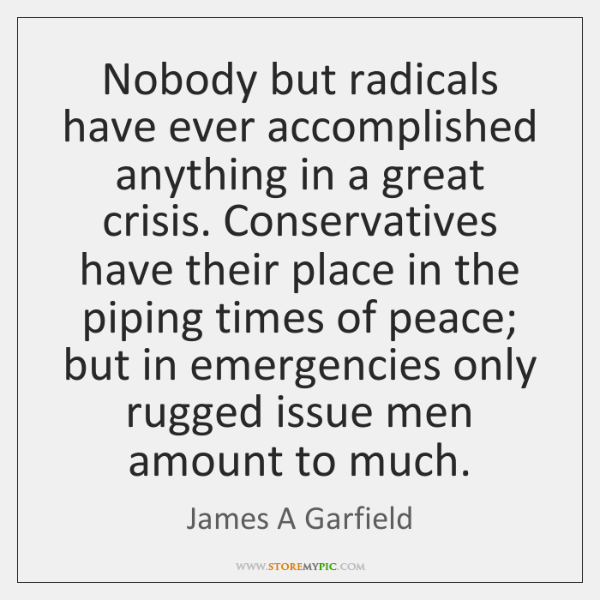Nobody but radicals have ever accomplished anything in a great crisis. Conservatives ...